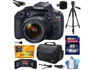 Canon EOS Rebel T5 EF-S 18-55mm IS II Digital SLR Kit with 16GB Memory + Large Case + Tripod + Card Reader + Card Wallet + HDMI Mini Cable + Cleaning Kit + $50 Gift Card 9126B003