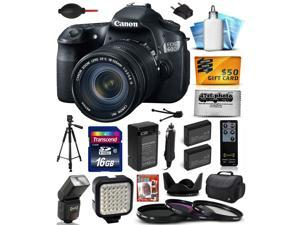 Canon EOS 60D 18 MP CMOS Digital SLR Camera with 18-135mm f/3.5-5.6 IS UD Lens includes 16GB Memory + Large Case + Tripod + Flash + Video Light + 2 Batteries + Lens Hood + DVD + $50 Gift Card 4460B004