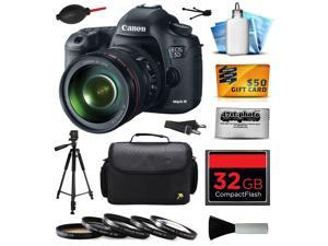 Canon EOS 5D Mark III 22.3 MP Full Frame CMOS Digital SLR Camera with EF 24-105mm f/4 L IS USM Lens with 32GB Memory + Large Case + Tripod + 5 Piece UV-CPL-FL-ND4-10x Filters + $50 Gift Card