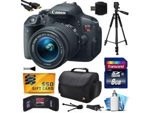 Canon EOS Rebel T5i (700D) Digital SLR with 18-55mm STM Lens includes 8GB Memory + Large Case + Tripod + Card Reader + Card Wallet + HDMI Mini Cable + Cleaning Kit + $50 Gift Card 8595B003
