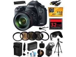 Canon EOS 5D Mark III 22.3 MP Full Frame CMOS Digital SLR Camera with EF 24-105mm f/4 L IS USM Lens with 32GB Memory + Battery + Charger + UV-CPL-FL-ND4-10x Macro + HDMI + $50 Gift Card 5260B009