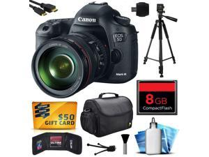 Canon EOS 5D Mark III 22.3 MP Full Frame CMOS Digital SLR Camera with EF 24-105mm f/4 L IS USM Lens with 8GB Memory + Large Case + Tripod + Card Wallet + HDMI Mini Cable + $50 Gift Card 5260B009