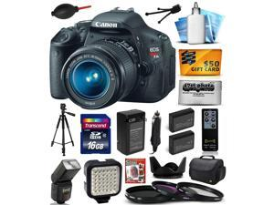 Canon EOS Rebel T3i Digital SLR Camera with EF-S 18-55mm f/3.5-5.6 IS Lens with 16GB Memory, Large Case, Tripod, Flash, LED Light, Two Batteries, Charger, DVD, Cleaning Kit, $50 Gift Card 5169B003