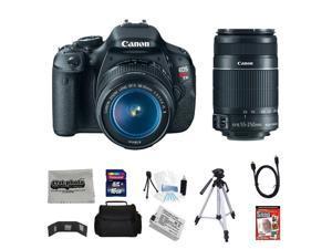 Canon EOS Rebel T3i 18 MP CMOS Digital SLR Camera with EF-S 18-55mm f/3.5-5.6 IS II Zoom Lens & EF-S 55-250mm f/4.0-5.6 IS Telephoto Zoom Lens + 16GB Deluxe Accessory Kit