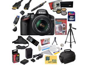 Nikon D3200 Digital SLR Camera with 18-55mm NIKKOR VR Lens With 32GB SDHC Card, Reader, Battery, Charger, 5 PC Filter Kit, HDMI Cable, Case, Tripod, Grip Strap, Cleaning Kit, DVD, $50 Gift Card, More