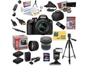 Nikon D3200 Digital SLR Camera with 18-55mm NIKKOR VR Lens With 64GB SDXC Card, Reader, 2 Batteries, Charger, 0.20X + 2.2x Lens, 5 PC Filter Kit, Flash, Case, Remote, Tripod, DVD, $50 Gift Card!