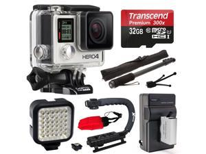 GoPro HERO4 Silver Edition 4K Action Camera with 32GB MicroSD Card, Battery with Charger, Opteka xGrip Action Video Stabilizer, ...