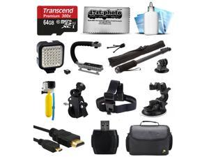Bundle for GoPro Hero4 Hero3+ Hero3 Hero2 Camera with 64GB Card, LED Light, Handgrip, Selfie Pole, Handlebar Mount, Helmet Strap, Car Mount, Premium Case, HDMI Cable, Floating Bobber, Cleaning Kit