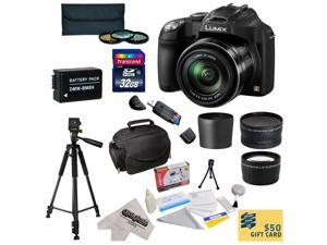 Panasonic Lumix DMC-FZ70 Digital Camera with 3-Inch LCD With 32GB SDHC Card, Reader, Battery, 0.43x Fisheye Lens, 2.2x Telephoto Lens, 3 Piece Filter Kit, Case, Tripod, Lens Cleaning Kit,$50 Gift Card