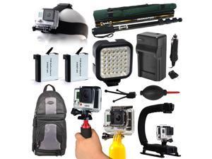 LED Light + Monopod + Stabilizer + Backpack + Head Strap for GoPro HERO4 Hero 4