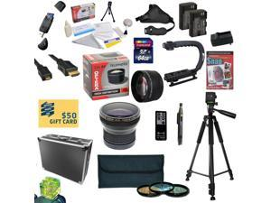 All Sport Kit for Canon 6D 60D 70D & 5D Mark III Includes 64GB High Speed SDXC Card + 2 Batteries + Dual Charger + 0.20X + 2.2x Lens + 3 Piece Filters + Hard Case + Tripod + X-GRIP + $50 Gift Card!