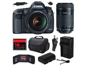 Canon EOS 5D Mark III 22.3 MP Full Frame CMOS Digital SLR Camera with EF 24-105mm f/4 L IS USM Lens and EF-S 55-250mm f/4-5.6 IS STM Lens with 16GB Memory + Large Case + Battery + Charger 5260B009