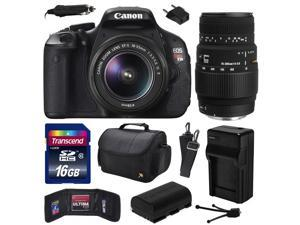 Canon EOS Rebel T3i (600D) Digital SLR Camera with EF-S 18-55mm f/3.5-5.6 IS and Sigma 70-300mm f/4-5.6 DG Macro Lens with 16GB Memory + Case + Battery + Charger + Card Wallet + Cleaning Kit 5169B003