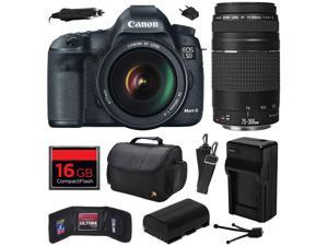 Canon EOS 5D Mark III 22.3 MP Full Frame CMOS Digital SLR Camera with EF 24-105mm f/4 L IS USM Lens and EF 75-300mm f/4-5.6 III Lens with 16GB Memory + Large Case + Battery + Charger 5260B009