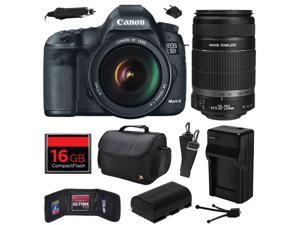 Canon EOS 5D Mark III 22.3 MP Full Frame CMOS Digital SLR Camera with EF 24-105mm f/4 L IS USM Lens and EF-S 55-250mm f/4-5.6 IS II Lens with 16GB Memory + Large Case + Battery + Charger 5260B009