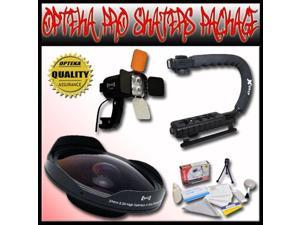 "Opteka PRO Filmer ""Skaters"" Package includes the Opteka ""Baby Death"" 0.3X HD Fisheye Lens, Opteka VL-800 Pro LED Video Light Kit & Opteka X-GRIP Handle for 25mm, 30mm, 30.5mm, & 37mm Camcorders"
