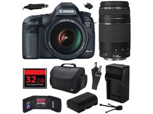 Canon EOS 5D Mark III 22.3 MP Full Frame CMOS Digital SLR Camera with EF 24-105mm f/4 L IS USM Lens and EF 75-300mm f/4-5.6 III Lens with 32GB Memory + Large Case + Battery + Charger 5260B009