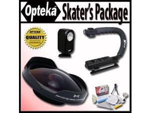 Opteka Deluxe Skaters Package with OPT-SC37FE 0.3X Ultra Fisheye Lens, X-GRIP Handle & 3 Watt Light for DC40, DC50, HV10, Optura 10, 20, VIXIA HF10, HF100, HF11, HF20, HG21, HR10 Digital Camcorders