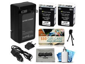 2 Pcs LPE6 LP-E6 Battery + Charger for Canon EOS 6D 7D, 7D Mark 2 II 60D 60Da DSLR SLR Digital Camera
