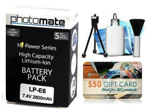 Photomate LPE6 LP-E6 2800mAh Battery for Canon EOS 6D 7D, 7D Mark 2 II 60D 60Da DSLR SLR Digital Camera