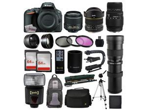 Nikon D5500 DSLR Digital Camera 18-55mm Lens + 6.5mm f/3.5 Fisheye Lens + 70-300mm DG Lens + 420-1600mm f/8.3 HD Telephoto Lens + 128GB Memory + Filters + Flash + Backpack + Case + Tripod + Monopod