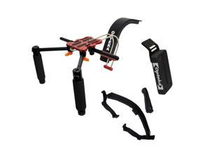 Opteka CXS-2 Dual-Grip Video Shoulder Stabilizer Support System with 15mm Accessory Rod, CBW-1 Counterweight and CXSB-1 Shoulder Strap Belt