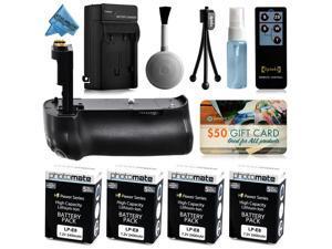 Multi Power Battery Grip + (4 Pack) Ultra High Capacity LP-E8 LPE8 Battery (2400mAh) + AC/DC Rapid Battery Charger for Canon EOS 550D 600D 650D 700D DSLR SLR Digital Camera (BG-E8 BGE8 Replacement)