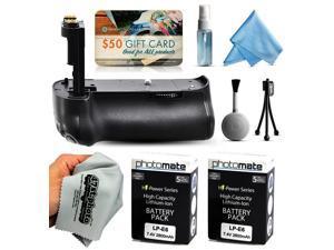 Multi Power Battery Grip + (2 Pack) Ultra High Capacity LP-E6 LPE6 Battery (2800mAh) for Canon EOS 5DM3 5DMIII 5DMark 5DMark3 5D Mark 3 III DSLR SLR Digital Camera (BG-E11 BGE11 Replacement)