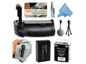 Multi Power Battery Grip + Ultra High Capacity LP-E12 LPE12 Replacement Battery (2400mAh) + $50 Gift Card for Prints + Lens Cleaning Kit for Canon EOS Rebel SL1 100D DSLR SLR Digital Camera