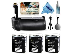 Multi Power Battery Grip + (3 Pack) Ultra High Capacity LP-E6 LPE6 Replacement Battery (2800mAh) + $50 Gift Card for Prints for Canon EOS 70D DSLR SLR Digital Camera (BG-E14 BGE14 Replacement)