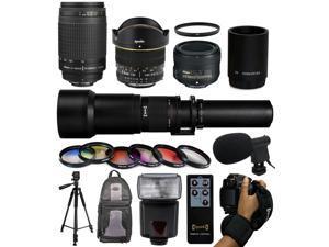 Extreme Bundle + Accessories for Nikon DF D7200 D7100 D7000 D5500 D5300 D5200 D5100 D5000 D3300 D3200 D300S D90 includes Nikon 70-300mm Manual Lens + 50mm f/1.8G + 6.5mm f/3.5 HD Fisheye + 650-2600mm