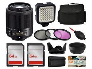 Nikon 55-200mm Lens 2156 + Accessories Bundle includes LED Light + Case + Filters + 128GB Memory for Nikon DF D7200 D7100 D7000 D5500 D5300 D5200 D5100 D5000 D3300 D3200 D3100 D3000 D300S D90