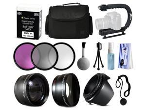 Photographers Accessories Package for Nikon D5500 D5300 D5200 D5100 D3300 D3200 D3100 includes EN-EL14 Battery Pack + Large Padded Case + Stabilizer + Filters + 2.2x Telephoto + 0.43x Fisheye + Hood