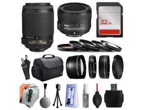 Beginner Accessories Bundle for Nikon DF D7200 D7100 D7000 D5500 D5300 D5200 D5100 D5000 D3300 D3200 D3100 D300S D90 includes Nikon VR 55-200mm Lens + 50mm f/1.8G Lens + 32GB Memory + Filters + Case