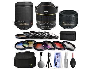 Nikon VR 55-200mm Lens + 50mm f/1.8G + 6.5mm f/3.5 Fisheye Lens Bundle Package + Filters & Accessories for Nikon DF D7200 D7100 D7000 D5500 D5300 D5200 D5100 D5000 D3300 D3200 D3100 D3000 D300S D90