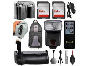 Power Accessories Package for Nikon D5100 D5200 D5300 includes Battery (2 Pack) + Dual Charger + 128GB Memory + Backpack + E-TTL Flash with Remote + Multi Power Battery Grip + $50 Gift Card for Prints