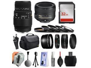 Beginner Accessories Bundle for Nikon DF D7200 D7100 D7000 D5500 D5300 D5200 D5100 D5000 D3300 D3200 D3100 D300S D90 includes Sigma 70-300mm DG Lens + 50mm f/1.8G Lens + 32GB Memory + Filters + Case