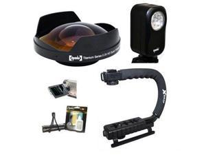 "Opteka Deluxe ""Skaters"" Package (Includes the Opteka 0.3X Ultra Fisheye Lens, X-Grip Handle & VL-20 LED Video Light for 52mm Camcorders"