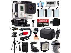 GoPro HERO3+ Hero 3+ Black Plus Edition Action Camera Camcorder with Ultimate Accessory Bundle includes 32GB MicroSD + 3x Batteries + Large Case + Stabilizer + Tripod + LED Video Light (CHDHX-302)