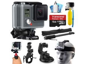 GoPro HD HERO Waterproof Action Camera Camcorder with 16GB Deluxe Accessories Bundle includes microSD Card + Floating Bobber + Selfie Stick + Stabilizer Holder + Car Windshield Suction Cup (CHDHA-301)