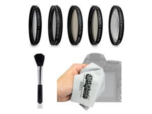 Opteka Filter Kit includes UV, CPL, FL, ND4, Macro, Brush and Cloth for Olympus OM-D E-M5, M1, M10, PEN PL7, P5, PL5, PM2, P1, P2, PL1, PL2 Micro Four Thirds Digital Cameras (37mm and 58mm Threads)