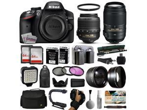 Nikon D3200 DSLR Digital Camera with 18-55mm VR + 55-300mm VR Lens + 128GB Memory + 2 Batteries + Charger + LED Video Light + Backpack + Case + Filters + Auxiliary Lenses + $50 Gift Card + More!