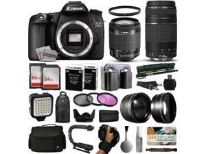 Canon EOS 70D DSLR SLR Digital Camera + 18-55mm STM + 75-300mm USM Lens + 128GB Memory + 2 Batteries + Charger + LED Video Light + Backpack + Case + Filters + Auxiliary Lenses + More