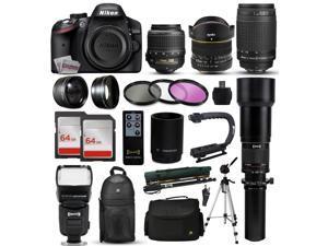 """Nikon D3200 DSLR Digital Camera + 18-55mm VR + 6.5mm Fisheye + 55-300mm VR + 650-2600mm Lens + Filters + 128GB Memory + Action Stabilizer + i-TTL Autofocus Flash + Backpack + Case + 70"""" Tripod"""