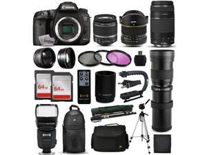 "Canon EOS 7D Mark 2 DSLR Digital Camera + 18-55mm IS II + 6.5mm Fisheye + 55-250 IS STM + 420-1600mm Lens + Filters + 128GB Memory + i-TTL Autofocus Flash + Backpack + Case + 70"" Tripod + 67"" Monopod"