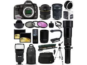 "Canon EOS 5D Mark 3 DSLR SLR Digital Camera + 6.5mm Fisheye + 24-105mm STM + 650-2600mm Lens + Filters + 128GB Memory + Action Stabilizer + i-TTL Autofocus Flash + Backpack + Case + 70"" Tripod + More"