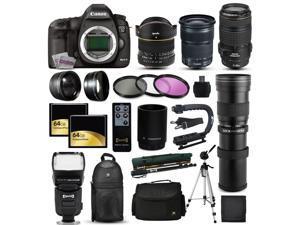 Canon EOS 5D Mark 3 DSLR SLR Digital Camera + 70-300mm IS USM + 6.5mm Fisheye + 24-105mm STM + 420-1600mm Lens + Filters + 128GB Memory + Stabilizer + i-TTL Autofocus Flash + Backpack + Case + More