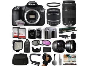 Canon EOS 60D DSLR Digital Camera with 18-55mm IS II + 75-300mm USM Lens + 128GB Memory + 2 Batteries + Charger + LED Video Light + Backpack + Case + Filters + Auxiliary Lenses + More