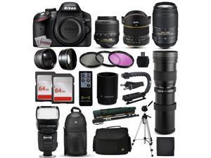 """Nikon D3200 DSLR Digital Camera + 18-55mm VR + 6.5mm Fisheye + 55-300mm VR + 420-1600mm Lens + Filters + 128GB Memory + Action Stabilizer + i-TTL Autofocus Flash + Backpack + Case + 70"""" Tripod"""