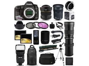 "Canon EOS 5D Mark 3 DSLR SLR Digital Camera + 6.5mm Fisheye + 24-105mm STM + 420-1600mm Lens + Filters + 128GB Memory + Action Stabilizer + i-TTL Autofocus Flash + Backpack + Case + 70"" Tripod + More"